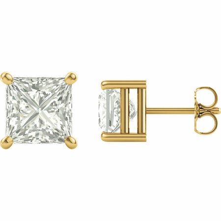 Genuine  14 Karat Yellow Gold 6.5mm Square Genuine Charles Colvard Forever One Moissanite Earrings
