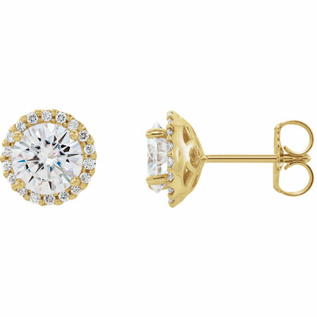 Genuine 14 Karat Yellow Gold 6mm Round Genuine Charles Colvard Forever One Moissanite and 0.17 Carat Diamond Earrings