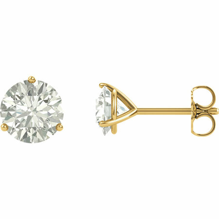 14 Karat Yellow Gold 6mm Round Genuine Charles Colvard Forever One Moissanite Earrings