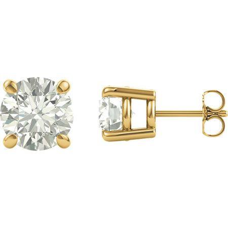 14 Karat Yellow Gold 6mm Round Genuine Charles Colvard Forever One Moissanite Earrings