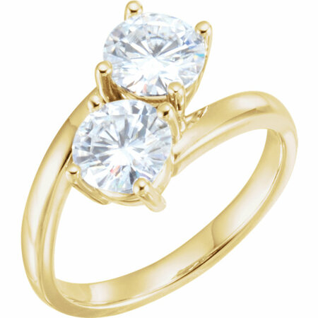 14 Karat Yellow Gold 6mm Round Genuine Charles Colvard Forever One Moissanite Ring