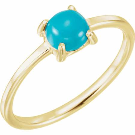 Genuine Turquoise Ring in 14 Karat Yellow Gold 6mm Round Turquoise Cabochon Ring