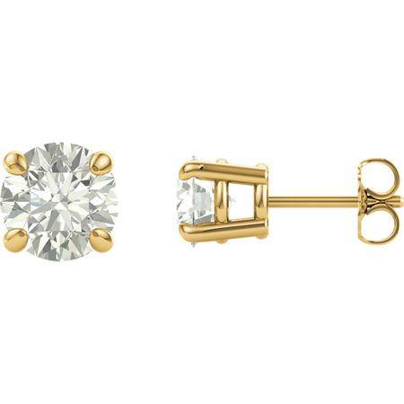 14 Karat Yellow Gold 8mm Round Genuine Charles Colvard Forever One Moissanite Earrings