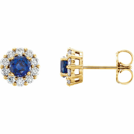 14 Karat Yellow Gold Genuine Chatham Blue Sapphire & 0.40 Carat Diamond Halo-Style Earrings