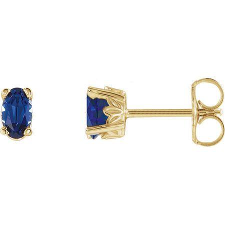 14 Karat Yellow Gold Genuine Chatham Blue Sapphire Earrings