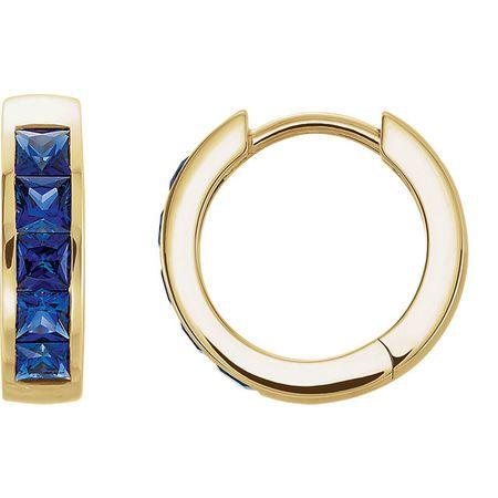 Buy 14 Karat Yellow Gold Genuine Chatham Blue Sapphire Hoop Earrings