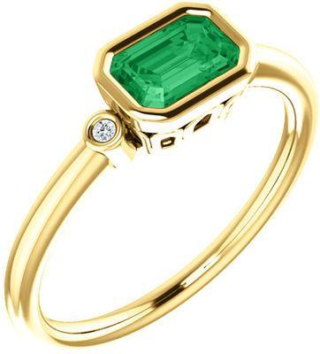 Best 14 Karat Yellow Gold Chatham Emerald & .02 Carat Diamond Ring