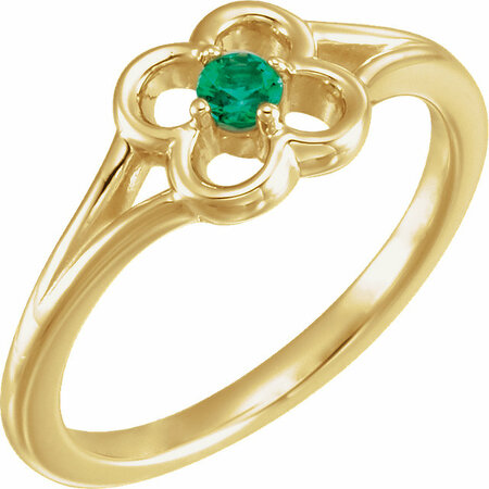 Buy 14 Karat Yellow Gold Emerald Flower Youth Ring