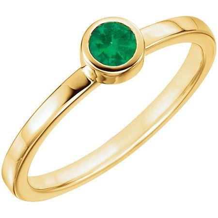 Genuine Emerald Ring in 14 Karat Yellow Gold Emerald Ring