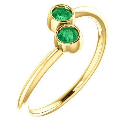 Genuine Emerald Ring in 14 Karat Yellow Gold EmeraldTwo-Stone Ring