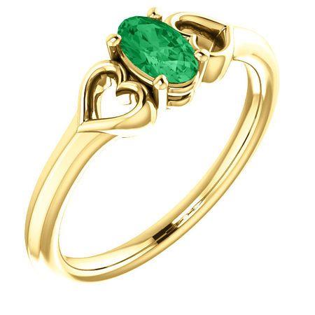 14 Karat Yellow Gold Emerald Youth Heart Ring
