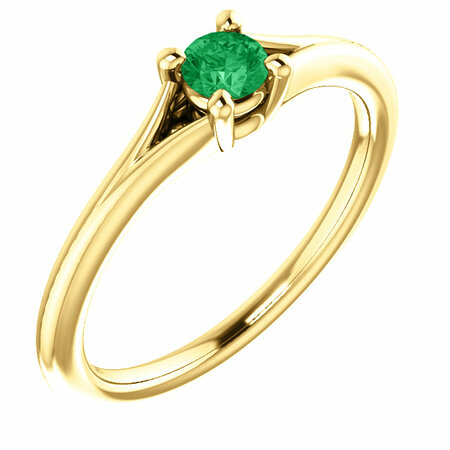 14 Karat Yellow Gold Emerald Youth Ring