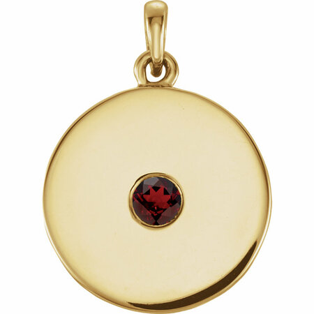 Genuine  Red Garnet Mozambique Garnet Disc Pendant