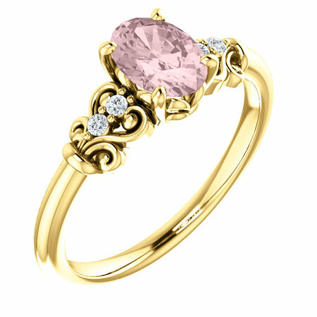 Genuine 14 Karat Yellow Gold Morganite & .04 Carat Diamond Ring
