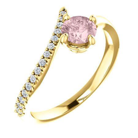 Shop 14 Karat Yellow Gold Morganite & 0.10 Carat Diamond Bypass Ring