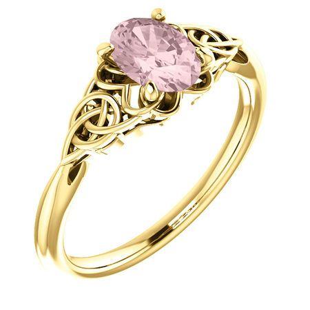 14 Karat Yellow Gold Morganite Celtic-Inspired Ring