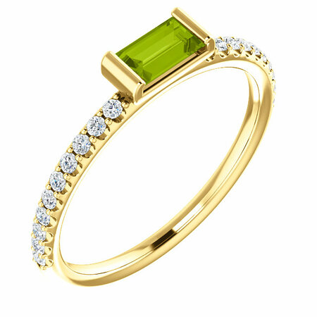 Buy 14 Karat Yellow Gold Peridot & 0.17 Carat Diamond Stackable Ring