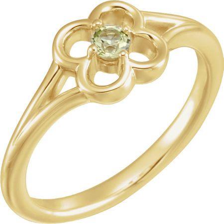 Buy 14 Karat Yellow Gold Peridot Flower Youth Ring