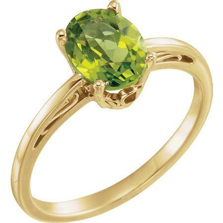 14 Karat Yellow Gold Peridot Ring