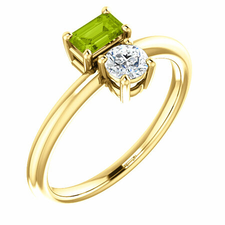 14 Karat Yellow Gold Peridot & Sapphire Two-Stone Ring
