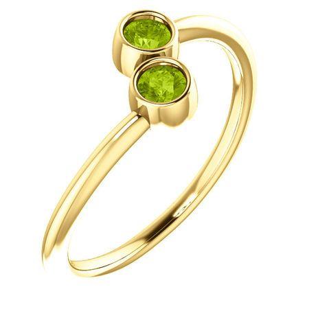 14 Karat Yellow Gold Peridot Two-Stone Ring
