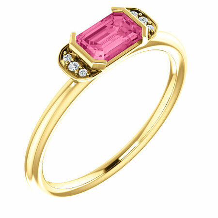 Shop 14 Karat Yellow Gold  Pink Tourmaline & .02 Carat Diamond Stackable Ring