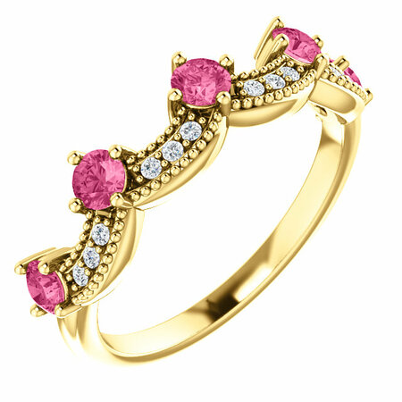 14 Karat Yellow Gold Pink Tourmaline & .06 Carat Diamond Crown Ring