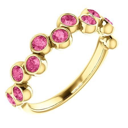 14 Karat Yellow Gold Pink Tourmaline Bezel-Set Ring