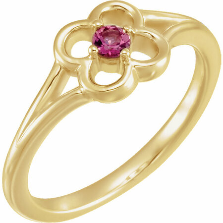 Genuine 14 Karat Yellow Gold Pink Tourmaline Flower Youth Ring