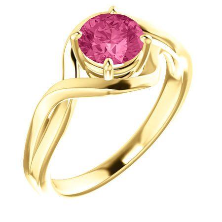 14 Karat Yellow Gold Pink Tourmaline Ring