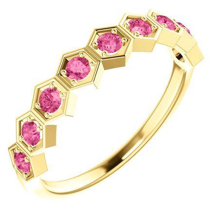14 Karat Yellow Gold Pink Tourmaline Stackable Ring