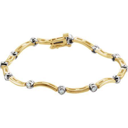 White Diamond Bracelet in 14 Karat Yellow Gold & White 0.50 Carat Diamond Line Bracelet