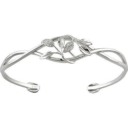 14 Karat White Gold .05 Carat Diamond Leaf Design Cuff Bracelet