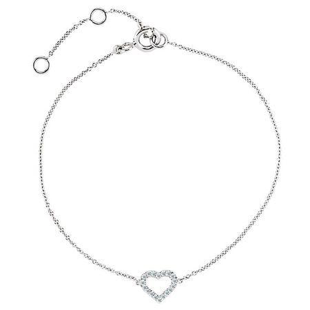 Genuine  14 Karat White Gold .06 Carat Diamond Heart 7