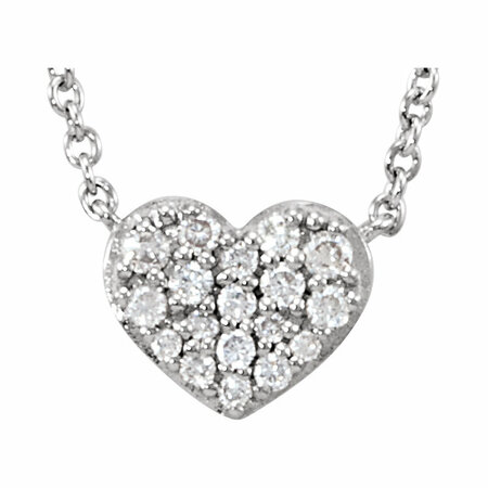 Genuine Diamond Necklace in 14 Karat Genuine Gold 0.10 Carat Diamond Heart 18