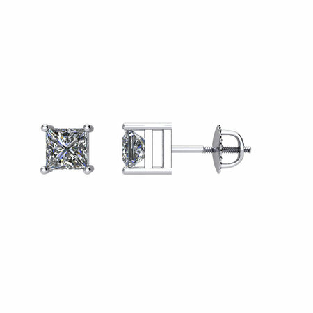 White Diamond Earrings in 14 Karat White Gold 0.50 Carat Diamond Earrings