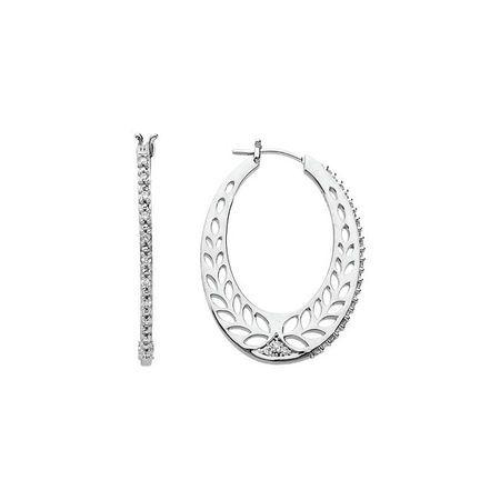White Diamond Earrings in 14 Karat White Gold 1/3 Carat Diamond Hoop Earrings