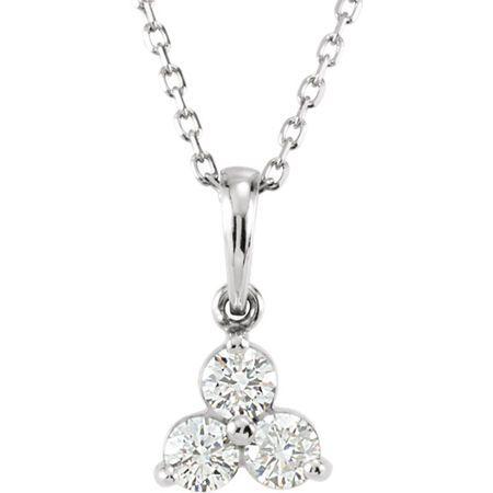 Genuine Diamond Necklace in 14 Karat Genuine Gold 0.33 Carat Diamond Three-Stone 18