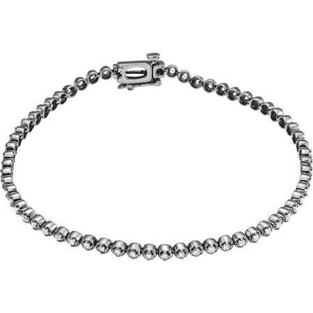 14 Karat White Gold 1 Carat Round Genuine Diamond Line Bracelet