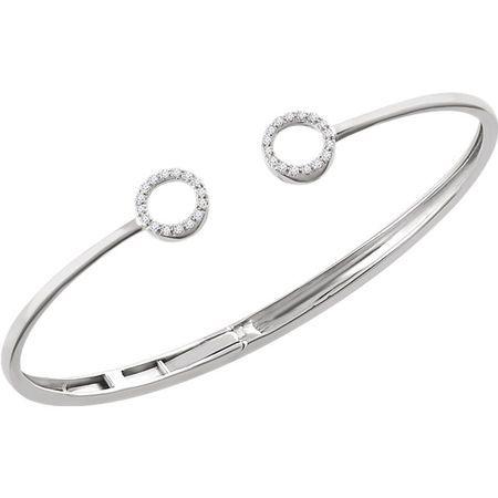 14 KT White Gold Circle Hinged Bangle Bracelet Mounting