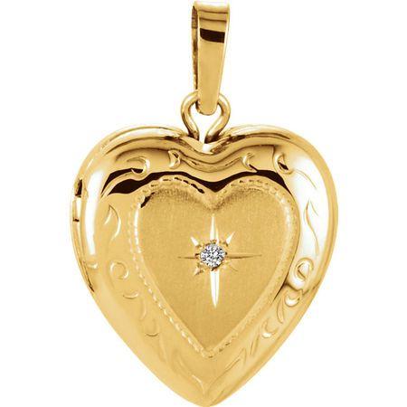White Diamond Pendant in 14 Karat Yellow Gold .005 Carat Diamond Heart Shape Locket