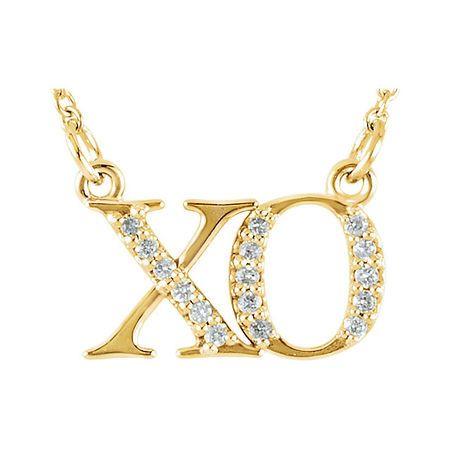 Natural Diamond Necklace in 14 Karat Yellow Gold .08 Carat Diamond