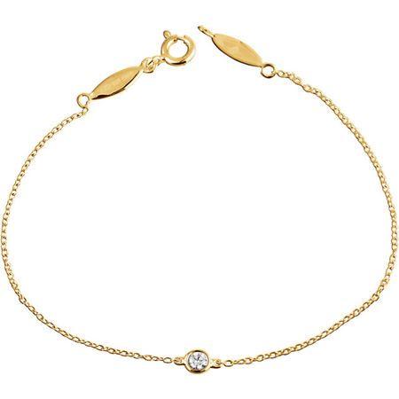 White Diamond Bracelet in 14 Karat Yellow Gold .08 Carat Diamond Bracelet
