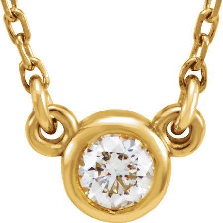 Natural Diamond Necklace in 14 Karat Yellow Gold 0.10 Carat Diamond 18