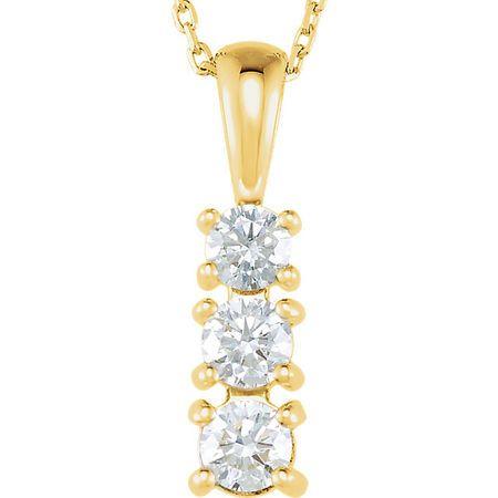 Diamond Necklace in 14 Karat Yellow Gold 0.50 Carat Diamond 3-Stone 18