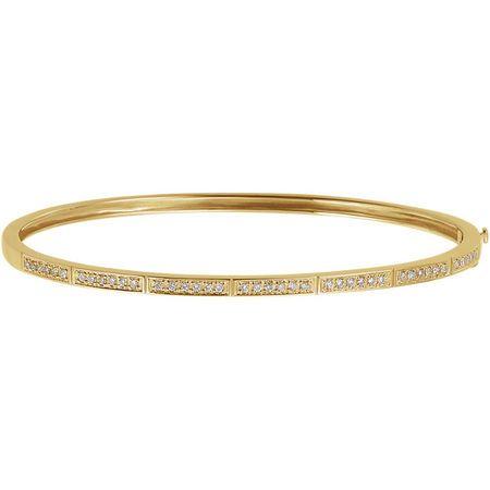 14 Karat Yellow Gold 0.33 Carat Diamond Bangle Bracelet