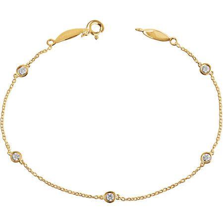 White Diamond Bracelet in 14 Karat Yellow Gold 1/3 Carat Diamond Bracelet