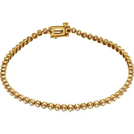 Buy 14 Karat Yellow Gold 1 Carat Round Genuine Diamond Line Bracelet