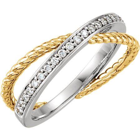 Genuine  14 Karat Yellow Gold & White 0.20 Carat Diamond Ring