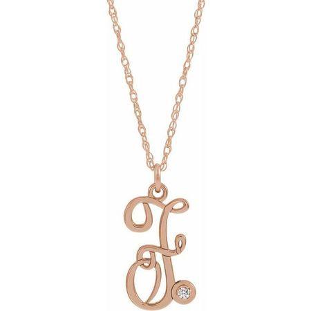 Natural Diamond Necklace in 14 Karat Rose Gold .02 Carat Diamond Script Initial F 16-18